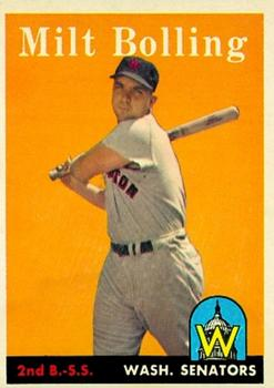 1958 Topps #188 Milt Bolling UER (Photo actually Lou Berberet)