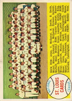 1958 Topps #216 St. Louis Cardinals TC
