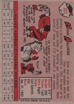 1958 Topps #337 Hank Aguirre back image