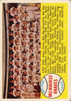 1958 Topps #377A Milwaukee Braves TC Alphabetical