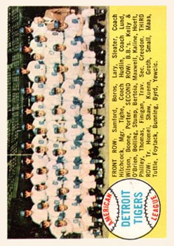 1958 Topps #397A Detroit Tigers TC Alphabetical