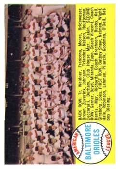 1958 Topps #408A Baltimore Orioles TC Alphabetical