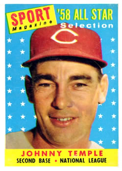 1958 Topps #478 Johnny Temple AS UER/Card says record vs American League/Temple was NL AS