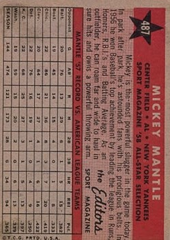 1958 Topps #487 Mickey Mantle AS TP back image
