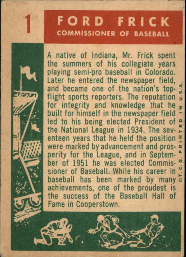 1959 Topps #1 Ford Frick COMM back image