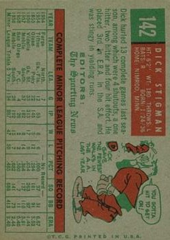 1959 Topps #142 Dick Stigman RS RC back image
