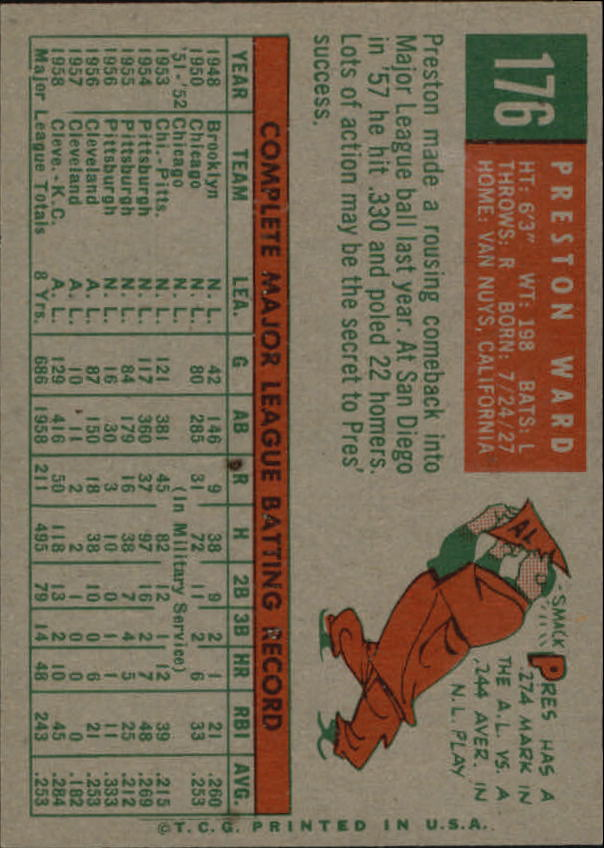 1959 Topps #176 Preston Ward back image