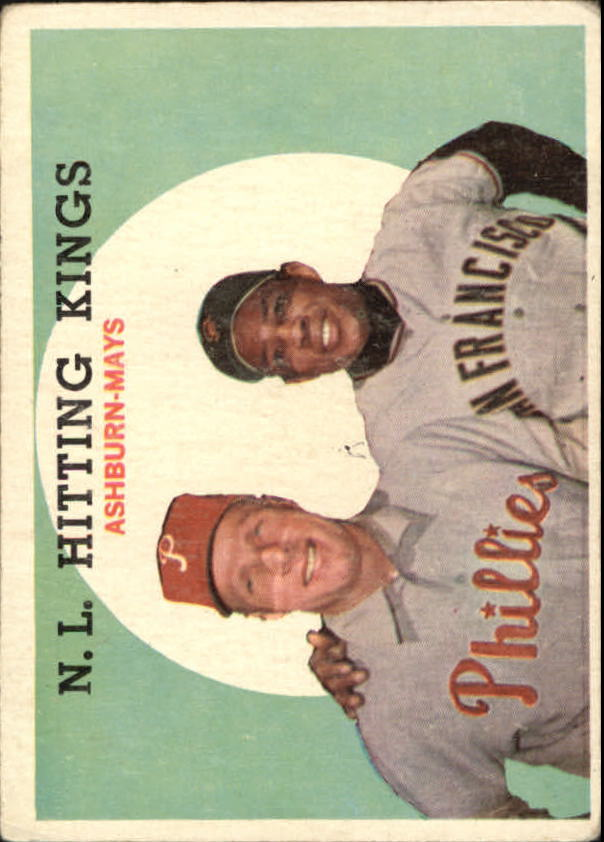 1959 Topps #317 NL Hitting Kings/Willie Mays/Richie Ashburn front image