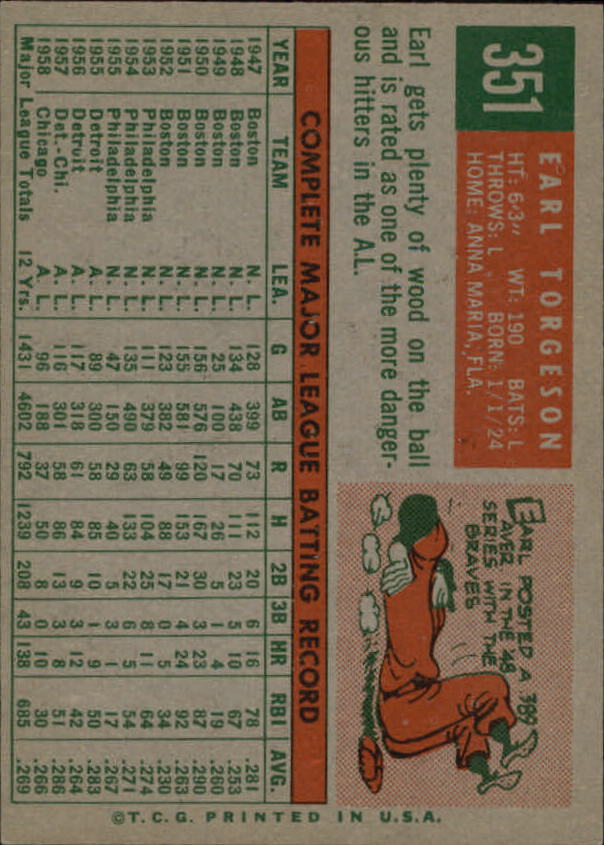 1959 Topps #351 Earl Torgeson back image