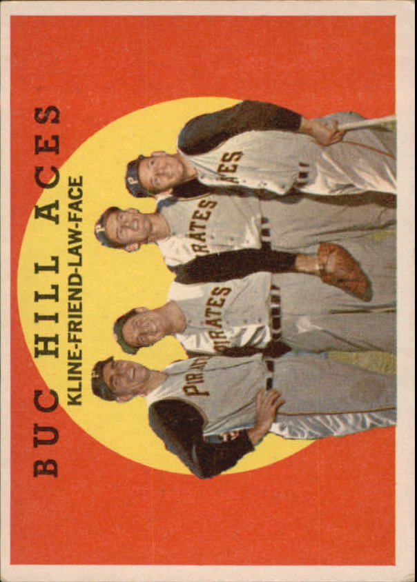 1959 Topps #428 Buc Hill Aces/Ron Kline/Bob Friend/Vernon Law/Roy Face front image