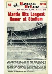 1960 Nu-Card Hi-Lites #50 Mickey Mantle/Hits Longest Homer/at Stadium