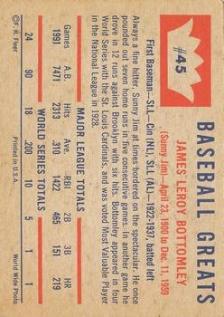 1960 Fleer #45 Jim Bottomley back image