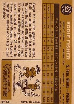 1960 Topps #23 Eddie Fisher RC back image