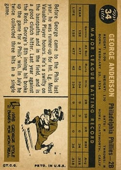 1960 Topps #34 Sparky Anderson back image