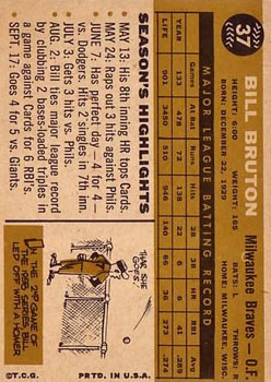 1960 Topps #37 Bill Bruton back image