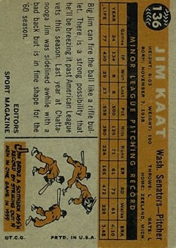 1960 Topps #136 Jim Kaat RS RC back image