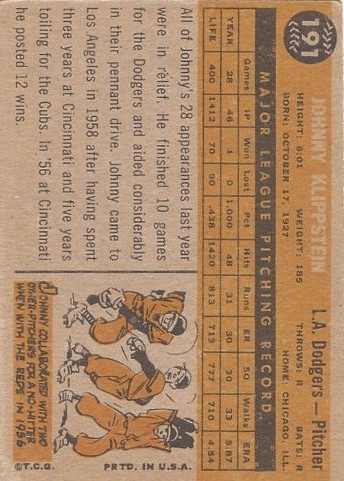 1960 Topps #191 Johnny Klippstein back image