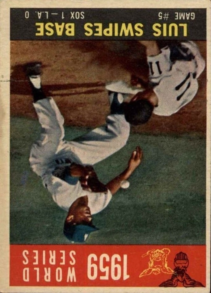 1960 Topps #389 World Series Game 5/Aparicio Steals Base/w/Maury Wills
