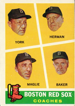 1960 Topps #456 Red Sox Coaches/Rudy York/Billy Herman/Sal Maglie/Del Baker