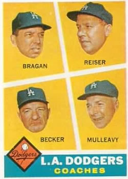 1960 Topps #463 Dodgers Coaches/Bobby Bragan/Pete Reiser/Joe Becker/Greg Mulleavy