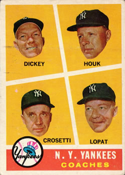 1960 Topps #465 Yankees Coaches/Bill Dickey/Ralph Houk/Frank Crosetti/Ed Lopat