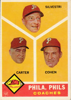1960 Topps #466 Phillies Coaches/Ken Silvestri/Dick Carter/Andy Cohen front image