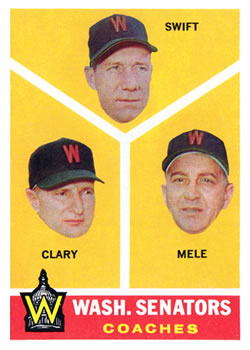 1960 Topps #470 Senators Coaches/Bob Swift/Ellis Clary/Sam Mele front image