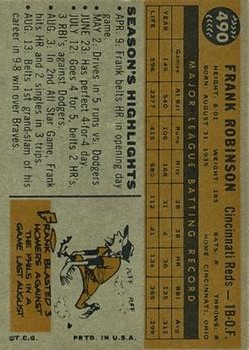 1960 Topps #490 Frank Robinson back image