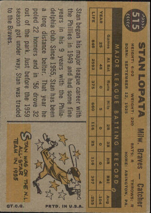 1960 Topps #515 Stan Lopata back image