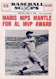 1961 Nu-Card Scoops #416 Roger Maris