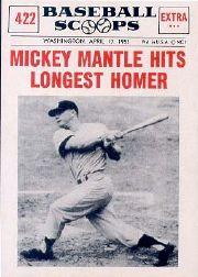 1961 Nu-Card Scoops #422 Mickey Mantle/(Longest homer)