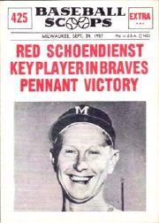1961 Nu-Card Scoops #425 Red Schoendienst