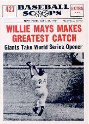 1961 Nu-Card Scoops #427 Willie Mays/(Greatest catch)