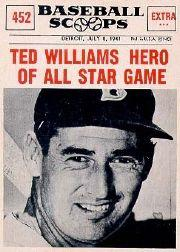 1961 Nu-Card Scoops #452 Ted Williams/(All-Star Hero)