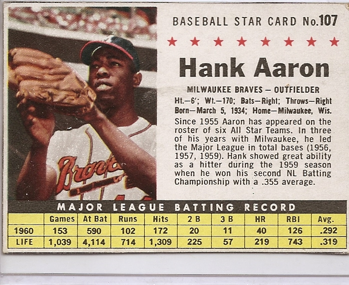 1961 Post #107B Hank Aaron BOX