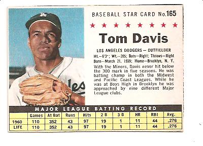1961 Post #165 Tommy Davis BOX only