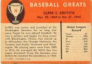 1961 Fleer #36 Clark Griffith back image