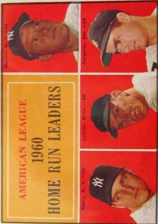 1961 Topps #44 AL Home Run Leaders/Mickey Mantle/Roger Maris/Jim Lemon/Rocky Colavito