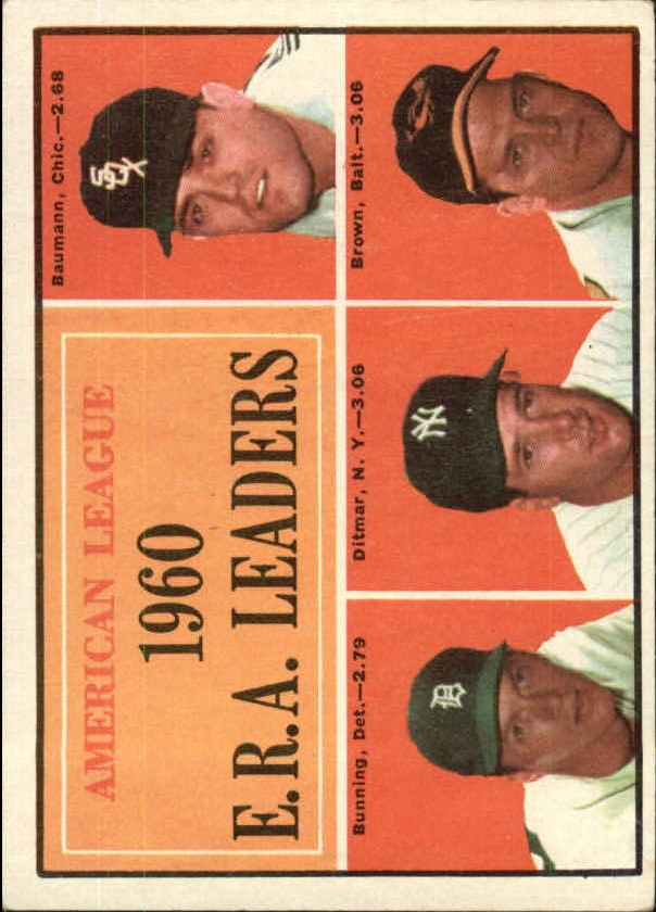1961 Topps #46 AL ERA Leaders/Frank Baumann/Jim Bunning/Art Ditmar/Hal Brown