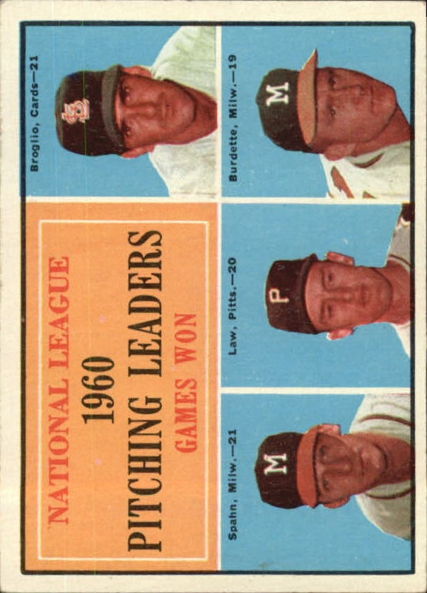 1961 Topps #47 NL Pitching Leaders/Ernie Broglio/Warren Spahn/Vern Law/Lou Burdette