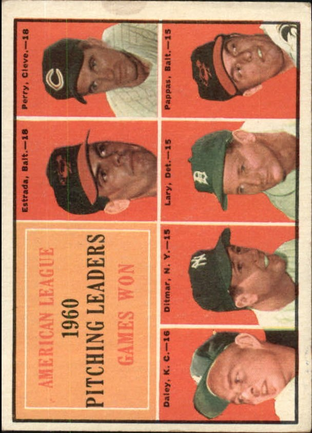 1961 Topps #48 AL Pitching Leaders/Chuck Estrada/Jim Perry UER/(Listed as an Oriole)/Bud Daley/Art Ditmar/Frank Lary/Milt Pappas
