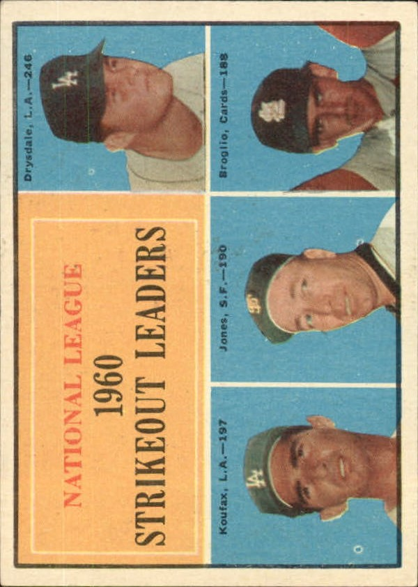1961 Topps #49 NL Strikeout Leaders/Don Drysdale/Sandy Koufax/Sam Jones/Ernie Broglio front image