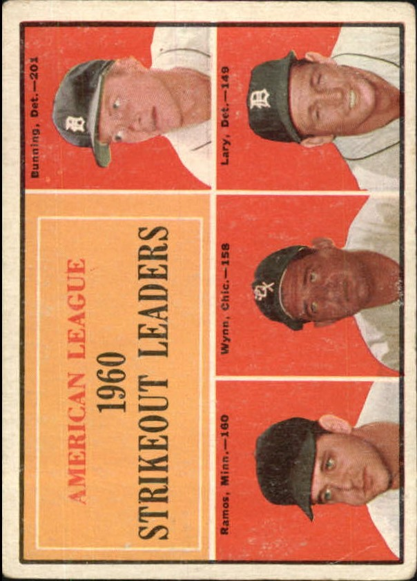 1961 Topps #50 AL Strikeout Leaders/Jim Bunning/Pedro Ramos/Early Wynn/Frank Lary