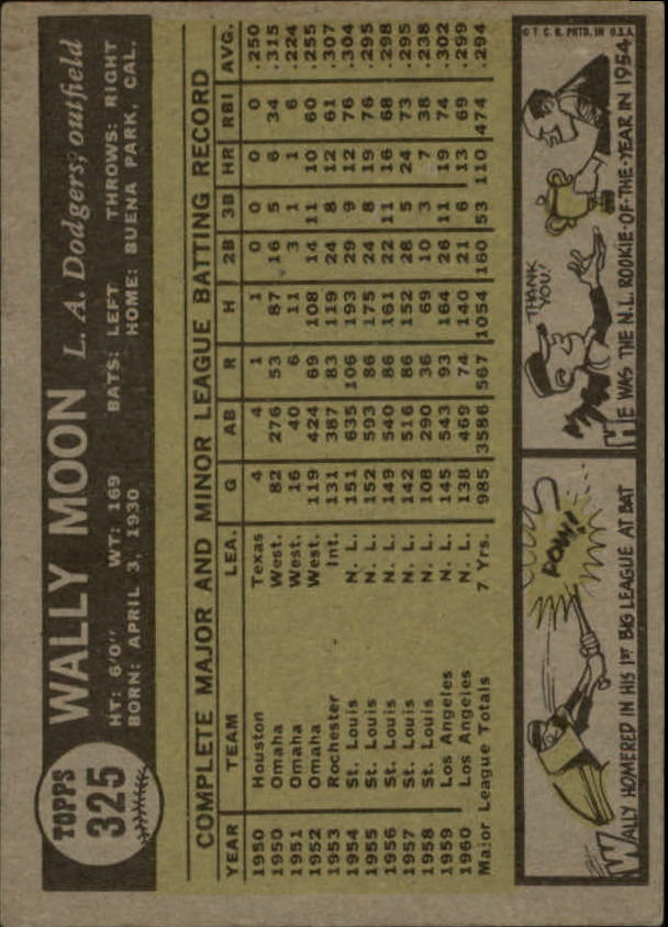 1961 Topps #325 Wally Moon back image