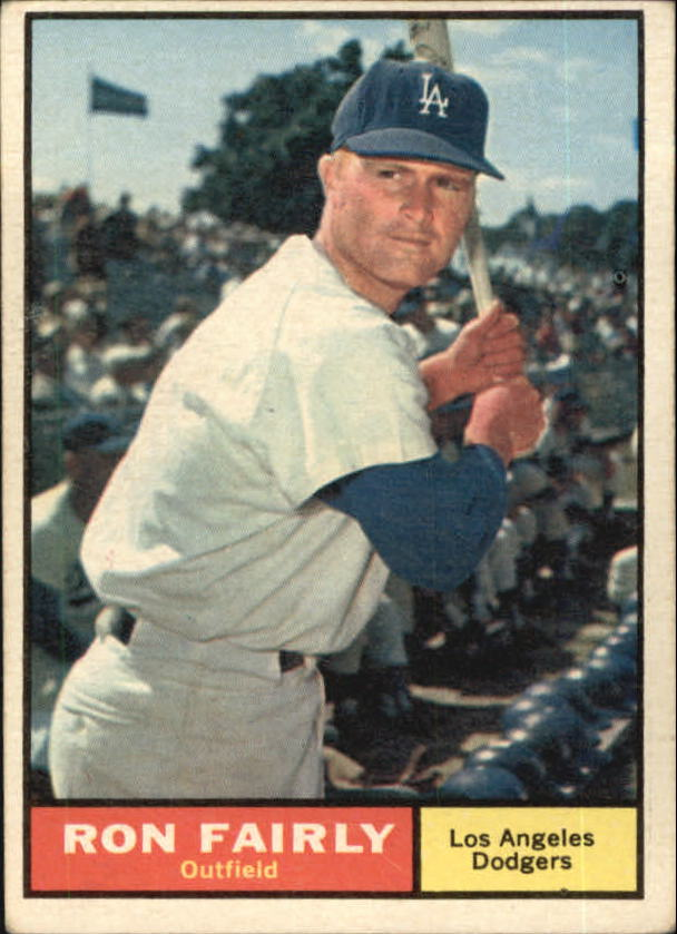 1961 Topps #492A Ron Fairly/Area below bottom stitch of baseball is white