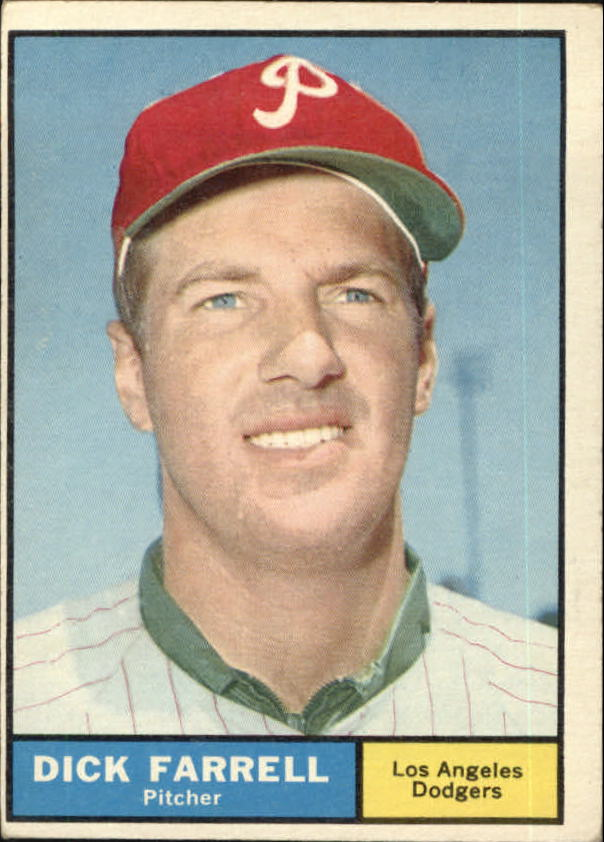 1961 Topps #522 Dick Farrell UER/(Phillies cap but/listed on Dodgers)