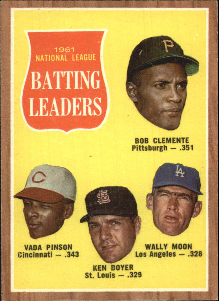 1962 Topps #52 NL Batting Leaders/Roberto Clemente/Vada Pinson/Ken Boyer/Wally Moon