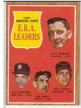 1962 Topps #55 AL ERA Leaders/Dick Donovan/Bill Stafford/Don Mossi/Milt Pappas front image