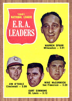 1962 Topps #56 NL ERA Leaders/Warren Spahn/Jim O'Toole/Curt Simmons/Mike McCormick front image