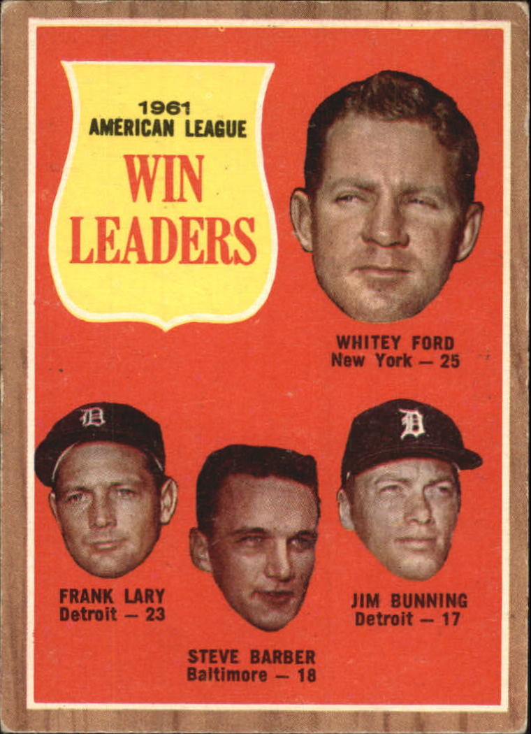 1962 Topps #57 AL Win Leaders/Whitey Ford/Frank Lary/Steve Barber/Jim Bunning